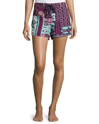 Dynasty Scarf Printed Drawstring Shorts, Bordeaux