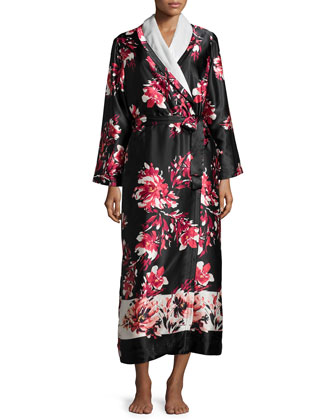 Floral-Print Charmeuse Robe, Black Winter Bloom