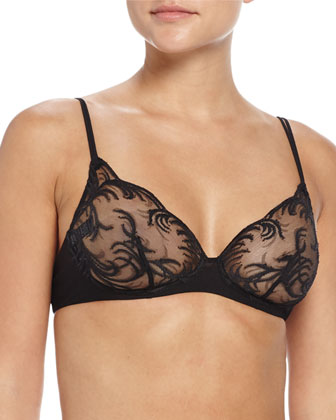 Zephyra Lace Soft-Cup Bra, Black
