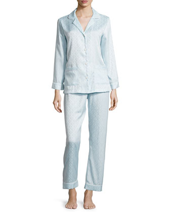 Jacquard Long Pajama Set, Glacier Blue