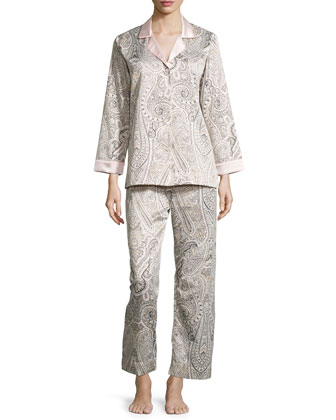 Brushed-Back Satin Paisley-Print Long-Sleeve Pajama Set, Pink Paisley