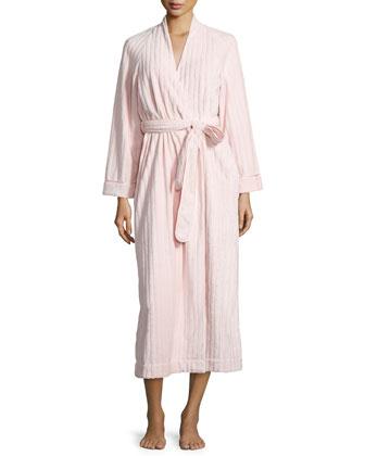 Textured Tonal-Stripe Plush Long Robe