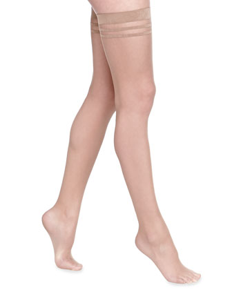 Opaque Thigh-High Stockings by Pretty Polly, Nude