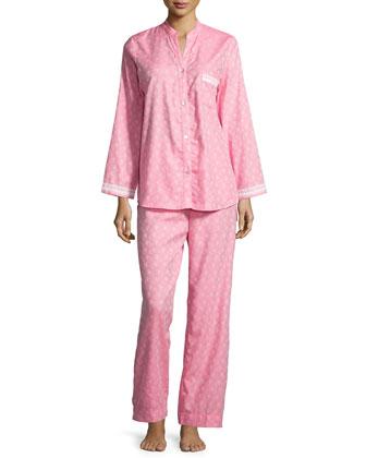 Paisley-Print Long-Sleeve Pajama Set, Pink/Ivory