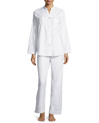 Lace-Trimmed Long-Sleeve Pajama Set, White
