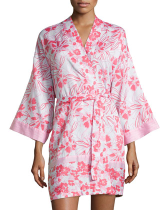 Long-Sleeve Floral-Print Short Robe, Pink