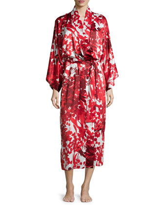 Ottoman Floral-Printed Long Robe, Cranberry