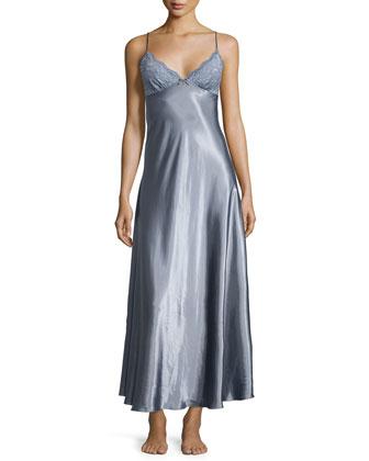 Moonlight Long Satin Gown, Slate