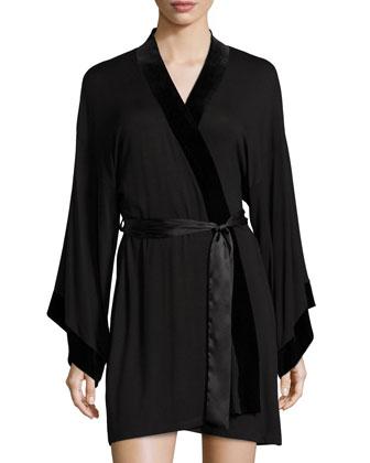 Nadia Jersey Short Wrap Robe, Black