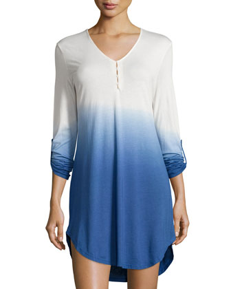 Bella Ombre Long-Sleeve Pullover Nightshirt