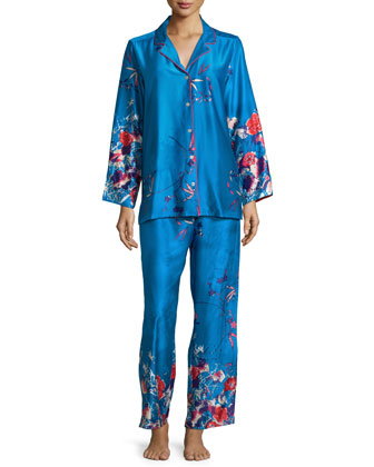 Nadja Floral-Print Satin Pajama Set, Blue/Multi