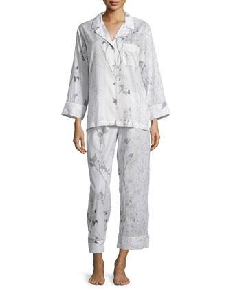 Sakura Floral-Print Long-Sleeve Pajama Set, White