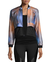 Dual Double-Layer Cropped Sport Jacket