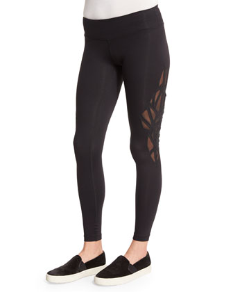 Paragon Mesh-Embroidered Sport Leggings, Black