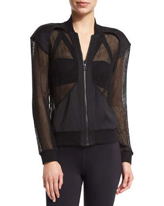 Dynasty Zip-Front Mesh Sport Jacket, Black