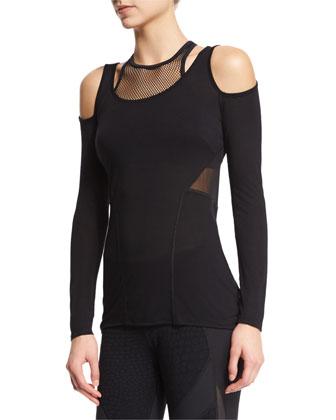 Kali Cold-Shoulder Mesh-Inset Sport Top, Black