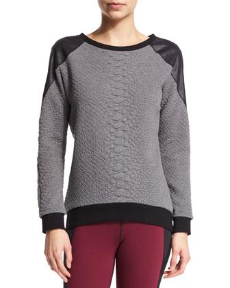 Melano Textured Combo Sport Sweatshirt, Crocodile Gray