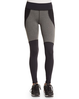 Shadow Net-Insert Stretch Sport Leggings, Charcoal Heather/Black