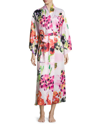 Waterspring Floral-Print Wrap Robe, Pink Multi