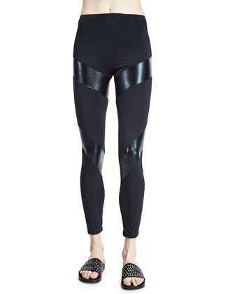 Compression Fitted Sport Ankle Pants, Black/Black Foil