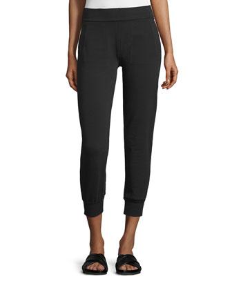 Cropped Jog Pants W/Mesh Inset, Black