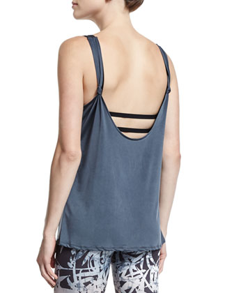 Round-Neck Knot-Back Sport Tank, Charcoal