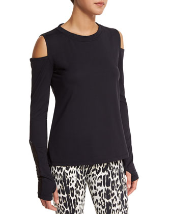 Rennie Cold-Shoulder Sport Sweater & Pico Crop Leopard-Print Sport Leggings