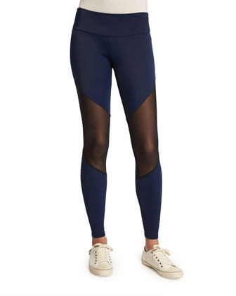 Track Leggings W/Mesh Inset, Navy