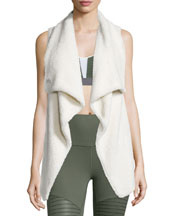 Cozy-Up Draped Sport Vest, Natural