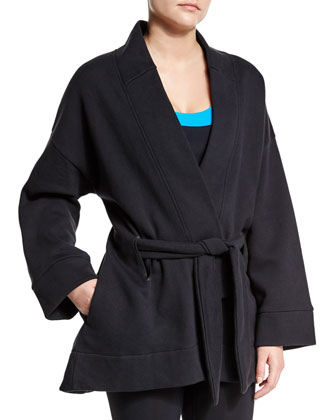 Long-Sleeve Belted Kimono Sport Jacket, Black