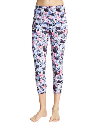 Mid-Rise Cropped Sport Leggings, Crystal Rose