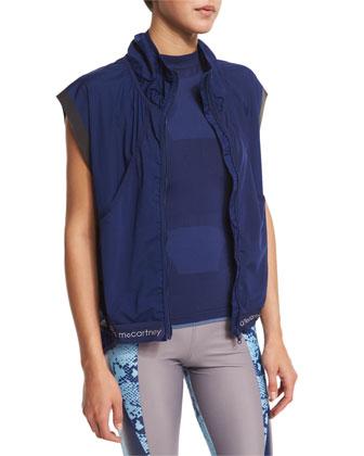 Adizero Gilet Zip-Front Sport Vest, Dark Blue