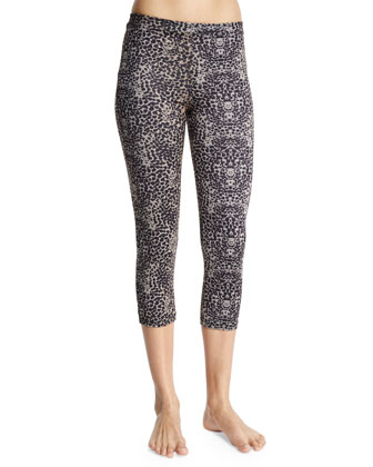 Leopard-Print Capri Athletic Leggings