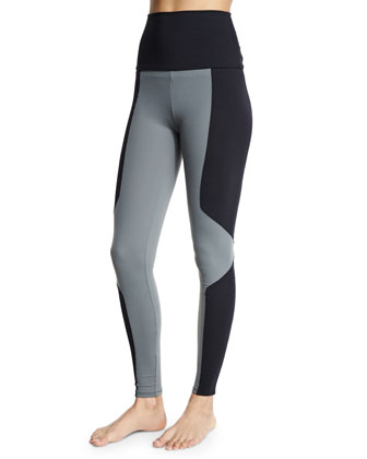 Geometric Long Sport Leggings, Black/Charcoal