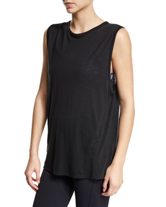 Linear Sleeveless Muscle Sport Tee, Black