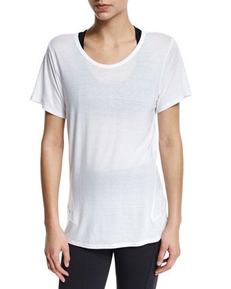 Linear Short-Sleeve Sport Tee, White