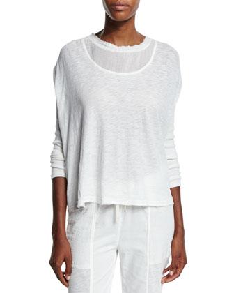Anastasia Long-Sleeve Top, Crane White