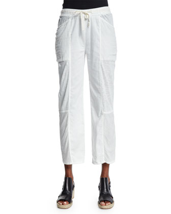 Meryl Straight-Leg Cropped Pants, Crane White