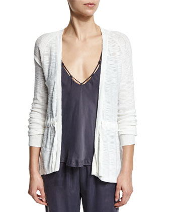 Page Cotton Tie-Front Cardigan, Crane White