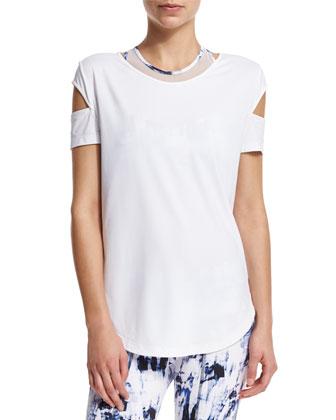Kinney Short-Sleeve Sport Top W/Cutouts, White