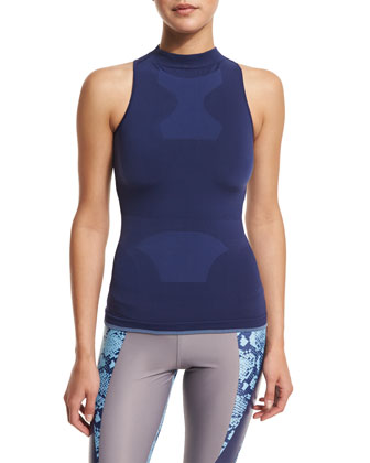 Run Seamless Racerback Tank, Dark Blue