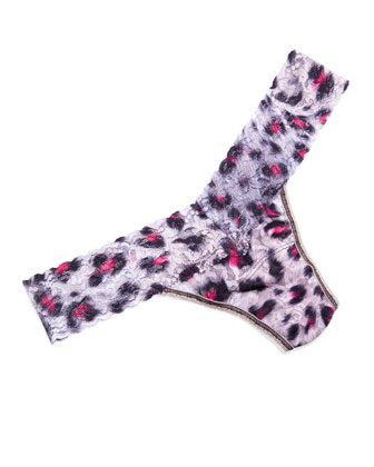 Low-Rise Shadow Cat Printed Lace Thong, Gray/Pink