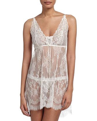 Victoria Sheer-Lace Chemise & Thong Set, Light Ivory