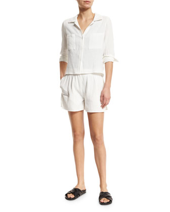 Halle Long-Sleeve Button-Up Top, White