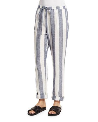 Amber Slim-Leg Striped Pants, White/Navy