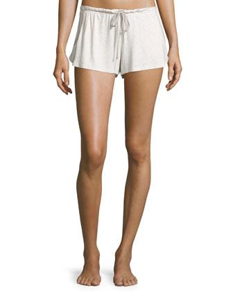 Darby Long-Sleeve Slouchy Tee & Drawstring-Waist Lounge Shorts, Oatmeal Grain