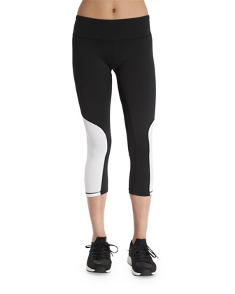 Colorblock Cycling Capri Pants, White/Black