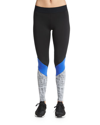 Colorblock Cycling Pants, Black/Cobalt/Chalk