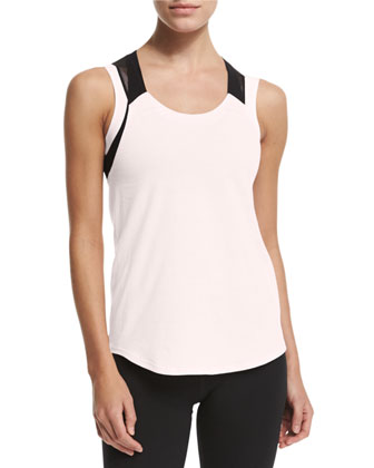 Gym Mesh-Shoulder Tank Top, Blush/Black