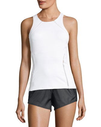 Studio Mesh-Panel Athletic Tank Top, White/Navy